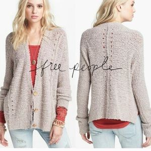 Free People Oversized Cardigan Nubby Oatmeal Taupe